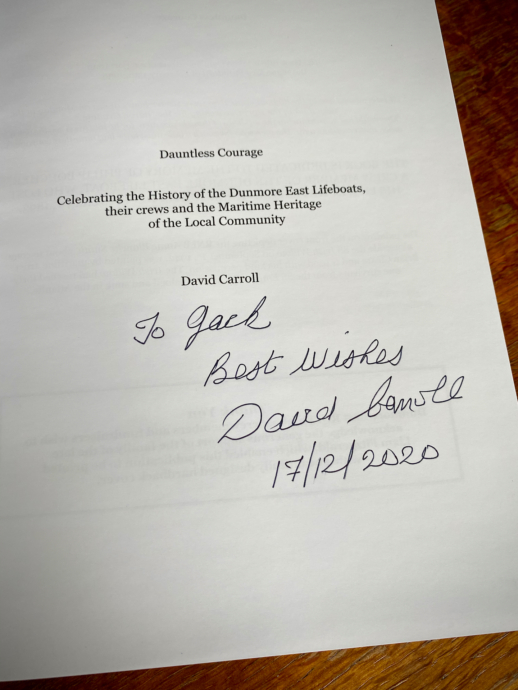 The Lifeboat Station Project in Dauntless Courage by David Carroll (signature)