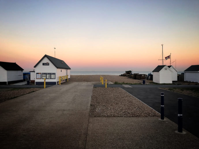 Sunset at Walmer lifeboat station